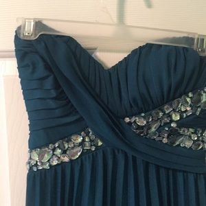 Teal strapless formal gown